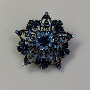 Blue Rhinestone and Faux Gold Brooch Pin VGUC